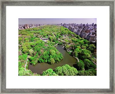 Aerial View Of Central Park In Spring Framed Print