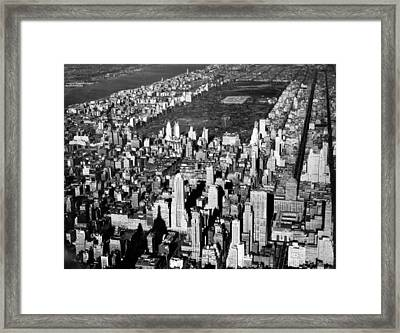 Aerial View Of Central Park Framed Print by Underwood Archives