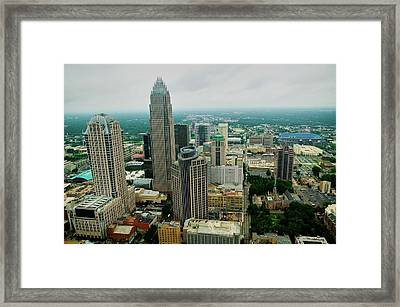Aerial View Of Charlotte, Nc Framed Print
