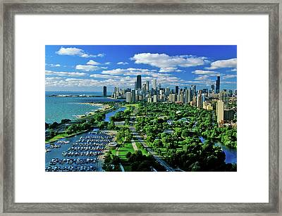 Aerial View Of Chicago, Illinois Framed Print