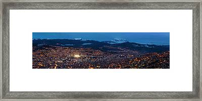Aerial View Of City At Night, El Alto Framed Print by Panoramic Images
