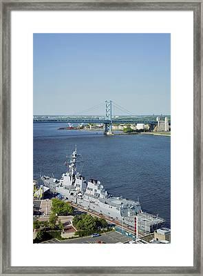 Aerial View Of Delaware River, Benjamin Framed Print