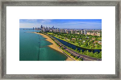 Aerial View Of Shoreline And Lincoln Framed Print