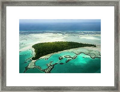 Aerial View Of St Joseph Atoll Framed Print by Peter Chadwick
