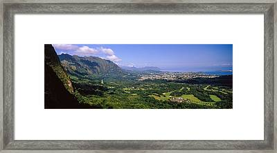 Aerial View Of The Coast, Na Pali Framed Print by Panoramic Images
