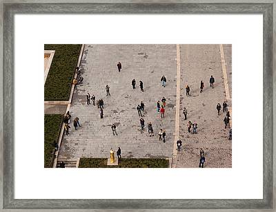 Aerial View Of Tourists Viewed Framed Print by Panoramic Images