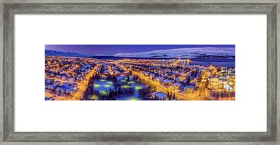 Aerial View - Wintertime In Akureyri Framed Print