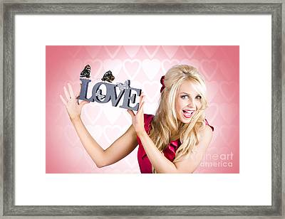 Affectionate Blonde Woman With Love Butterflies Framed Print by Jorgo Photography - Wall Art Gallery