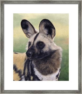 African Wild Dog Painting Framed Print by Rachel Stribbling