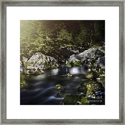 Aged Boulders Covered With Moss Lying Framed Print by Evgeny Kuklev