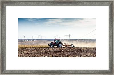 Agriculture Tractor Landscape Framed Print by Daniel Barbalata