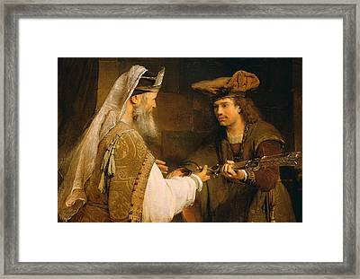 Ahimelech Giving The Sword Of Goliath To David Framed Print by Aert de Gelder