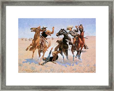 Aiding A Comrade Framed Print by Frederic Remington
