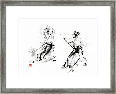 Aikido Enso Circle Martial Arts Sumi-e Original Ink Painting Artwork Framed Print by Mariusz Szmerdt