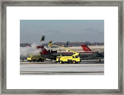 Airplane De-icing Framed Print