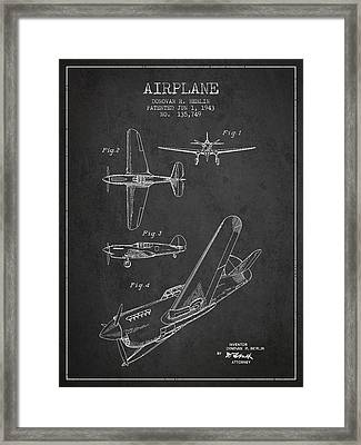 Airplane Patent Drawing From 1943 Framed Print by Aged Pixel