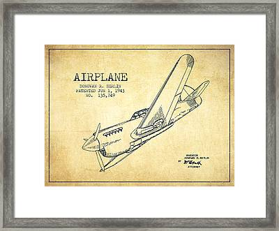 Airplane Patent Drawing From 1943-vintage Framed Print by Aged Pixel