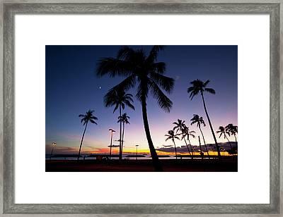 Ala Moana Beach Park, Waikiki Framed Print by Douglas Peebles