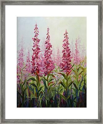 Framed Print featuring the painting Alaska Fireweed by Karen Mattson