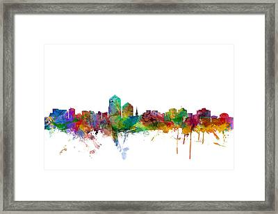Albuquerque New Mexico Skyline Framed Print by Michael Tompsett