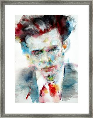 Aldous Huxley - Watercolor Portrait Framed Print by Fabrizio Cassetta