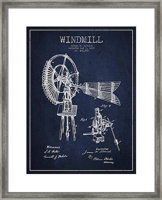 Aldrich Windmill Patent Drawing From 1889 - Green Framed Print by Aged Pixel