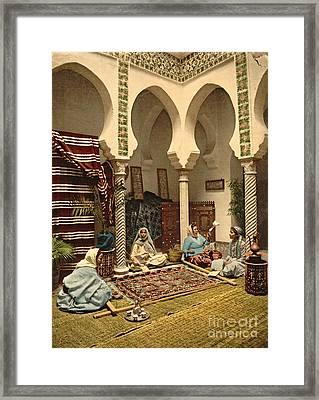 Algerian Carpet Makers 1899 Framed Print by Padre Art