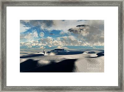 Alien Base With Ufos Located Framed Print by Mark Stevenson