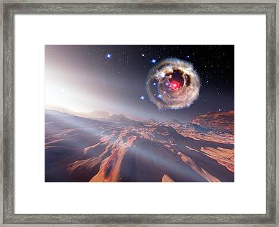 Alien Planet And Supernova Framed Print by Nasa/esa/stsci/h.bond/detlev Van Ravenswaay