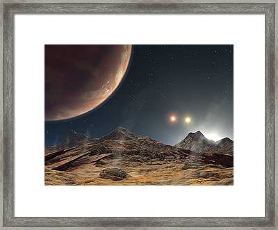 Alien Planetary System, Artwork Framed Print by Science Photo Library