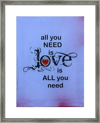 aLL YOU NEED IS LOVE Framed Print by Catt Kyriacou