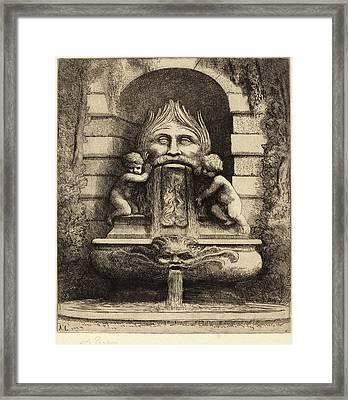 Alphonse Legros, Fountain Grotesque, Children And Basin Une Framed Print