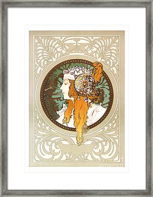 Alphonse Mucha - Byzantine Head - Brunette - 1897 Framed Print