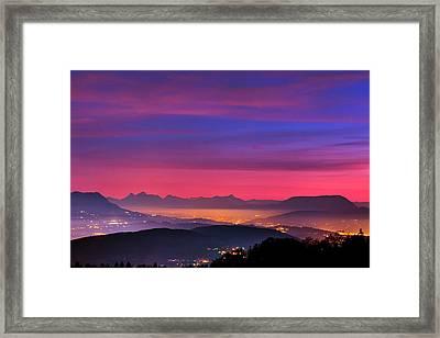 Alps At Dusk Framed Print by Babak Tafreshi