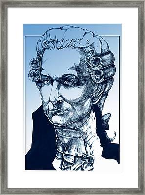 Amadeus Mozart In Blue Framed Print by Derrick Higgins