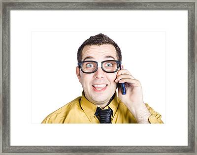 Amazed Businessman On Phone Call Framed Print by Jorgo Photography - Wall Art Gallery