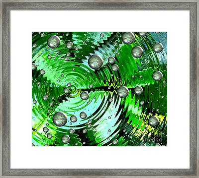 Amazing. Abstract Art. Green Grey  Blue Yellow  Framed Print