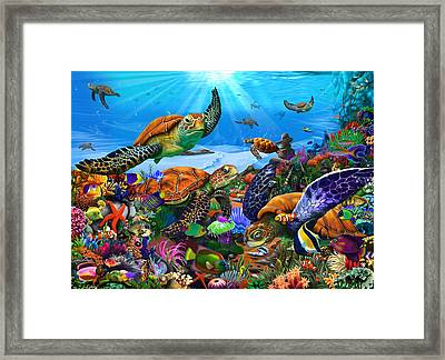 Amazing Undersea Turtles Framed Print by Gerald Newton