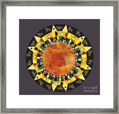 Framed Print featuring the digital art Amber Mandala by Kim Prowse