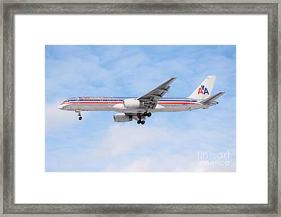 Amercian Airlines Boeing 757 Airplane Landing Framed Print by Paul Velgos