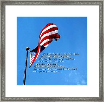 America The Beautiful - Us Flag By Sharon Cummings Song Lyrics Framed Print by Sharon Cummings