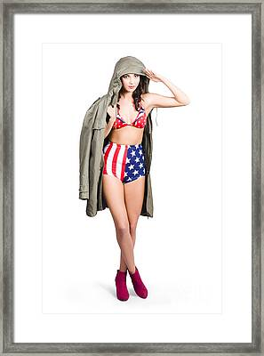 American Army Pinup Girl. Stars And Stripes Salute Framed Print by Jorgo Photography - Wall Art Gallery