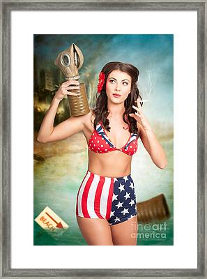 American Danger Girl. Pinup Beauty On Toxic Beach Framed Print by Jorgo Photography - Wall Art Gallery