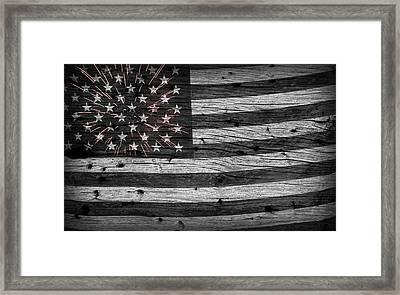 American Flag Fireworks Framed Print by John Stephens