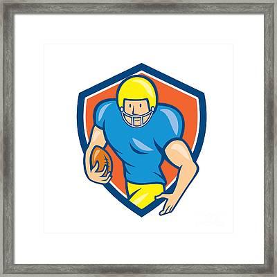 American Football Running Back Shield Cartoon Framed Print