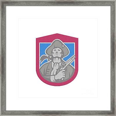 American Patriot With Flintlock Shield Retro Framed Print