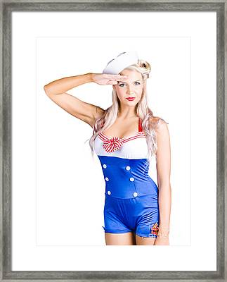 American Pinup Girl Sailor Saluting A Yes Sir Framed Print by Jorgo Photography - Wall Art Gallery
