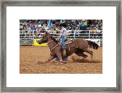 American Rodeo Female Barrel Racer White Blaze Chestnut Horse II Framed Print by Sally Rockefeller