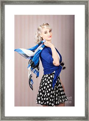American Style Pin-up Girl. Vintage Background Framed Print by Jorgo Photography - Wall Art Gallery