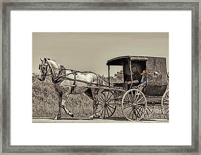 Amish Boy Tips Hat Framed Print